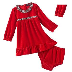 NEW Chaps Girls Dress 2 piece Set Velour